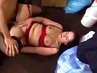 The Decorator Is Seduced By Horny Dark Haired Cougar In Stockings