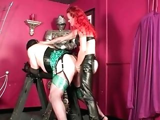 Crossdresser Submissive Servant Is Fucked In His Bum By Hard Belt Cock Ginger-haired