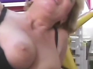 Lucky Fellow Gets Caught By A Blonde Cougar In Black Stockings