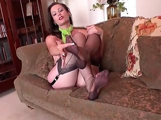 Huge-chested Brown-haired Vicki Peach Wants You To Jizm Over Her Antique Nylon Feet
